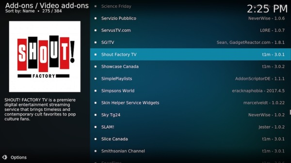 4. Scroll down to Shout Factory TV.