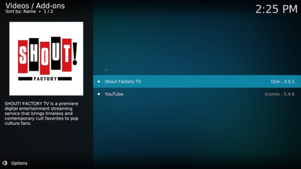 8. Click on Shout Factory TV.