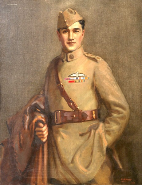 (art) Made by: Newling, Edward 1919  Art.IWM ART 2628  image: A three quarter length portrait of Ball in RFC uniform. He is holding a leather flying coat over his right arm and has his left hand in his pocket.