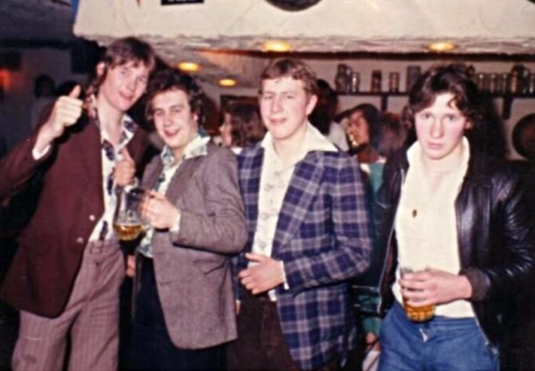 1974 Nottingham Bier Kellar - Steve Williams, Mick Thompson, Ian Strickland and Alex Lightfoot - underage gaggers!