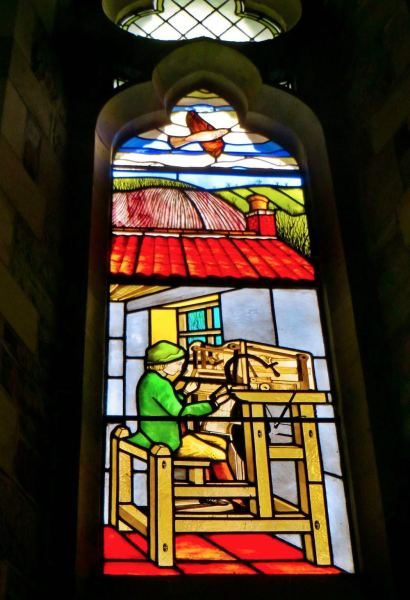 St Wilfrids Church - Stain-glassed window showing William Lee (designed by Michael Stokes).
