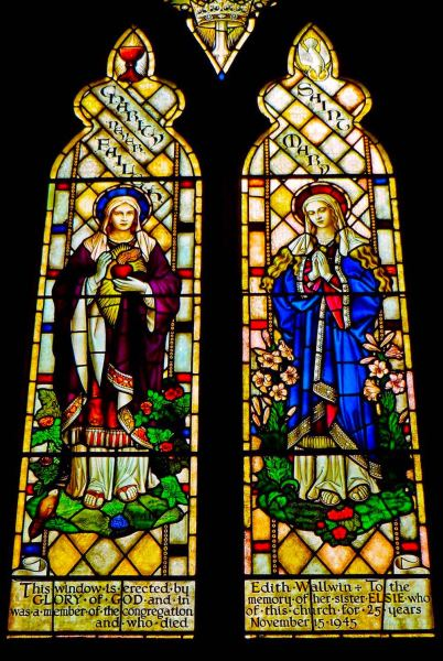 "St Wilfrids Church -  ""This window is erected by Edith Wallwin. To the GLORY of GOD and in memory of her sister ELSIE who was a member of the congregation of this church for 25 years and who died November 15 1945."""