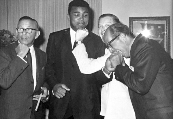 George Burns, Muhammed Ali and Milton Berle.