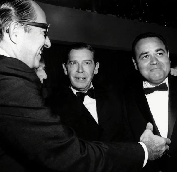 "With Milton Berle and Jonathan Winters at the premiere of ""It's a Mad Mad Mad Mad World"" (1963)"