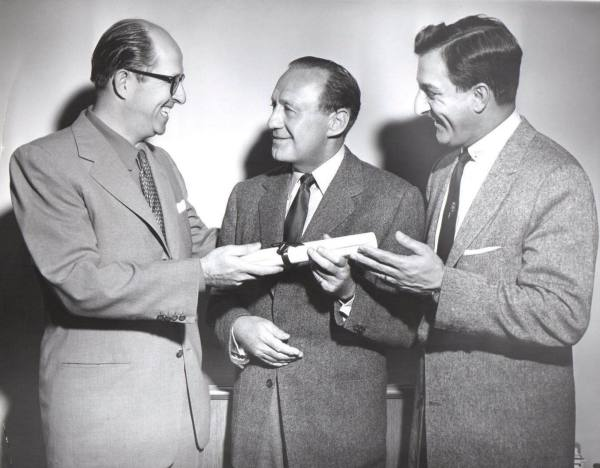 1957: One of three greats is getting an award from the 'Radio Television Executive Society' for 25 years of broadcasting service....with Jack Benny and Danny Thomas