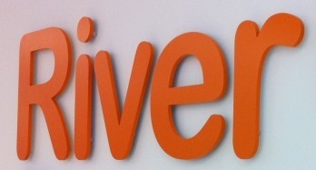 Orange flat cut plastic letters