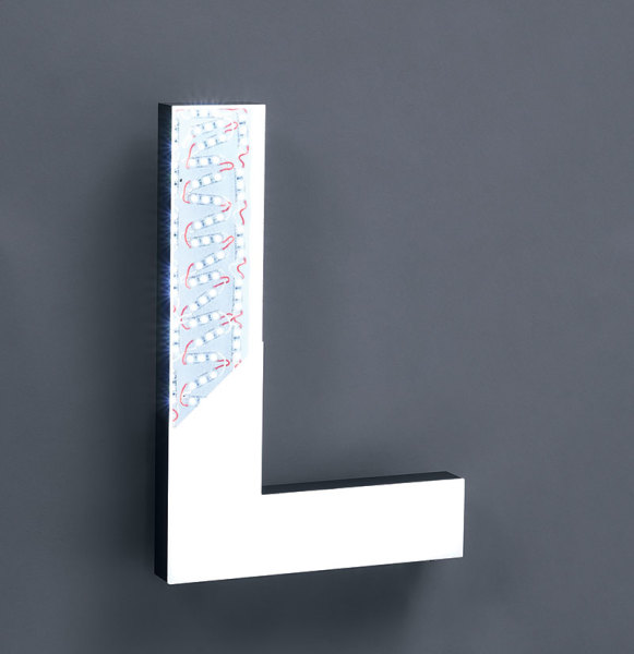 LUXE LED Letter with white face.