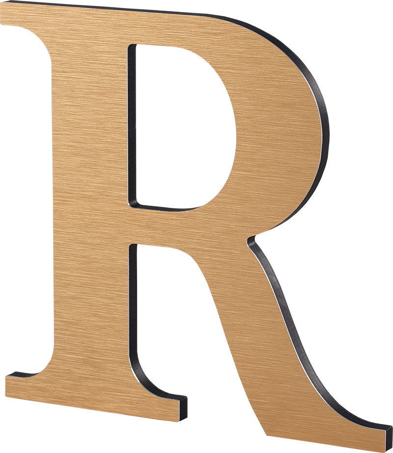 Metal Laminate on Acrylic Display Letter R