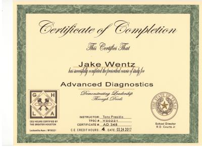Quick-Pick Locksmith Jake Wentz Advanced Diagnostics Certificat
