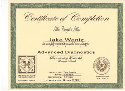 Quick-Pick Locksmith Jake Wentz Advanced Diagnostics Certificat