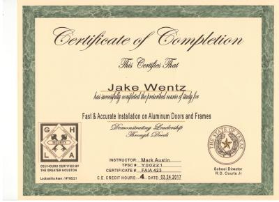 Quick-Pick Locksmith Jake Wentz Door Installation Certificate