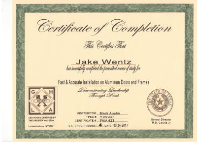 Quick-Pick Locksmith Jake Wentz Door Installation Certificate