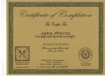 Quick-Pick Locksmith Jake Wentz Simplex Certificate