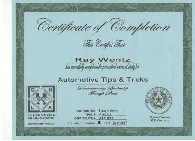 Quick-Pick Locksmith Ray's Automotive Locksmith Certification