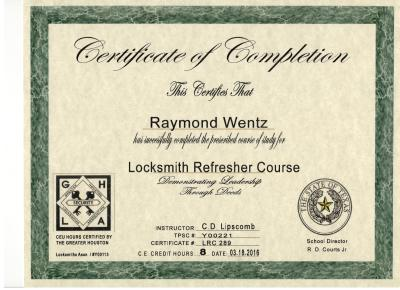 Quick-Pick Locksmith - Ray's Locksmith Certification