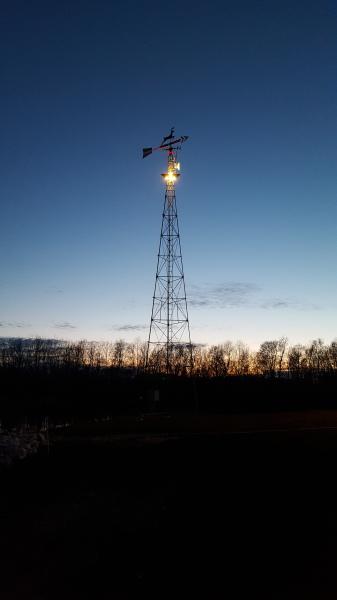 Weathervane at dusk