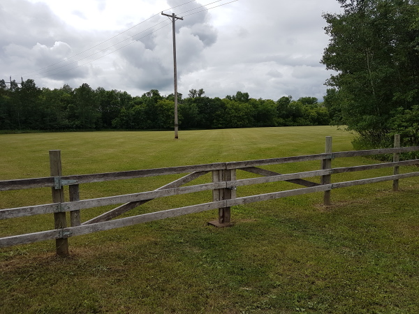 Green pasture from the gate