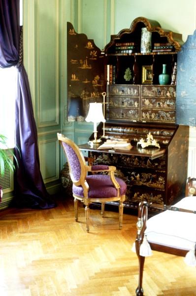 Corner of mansion master bedroom showing custom Venetian secretary and a classic Louis XVI ribbon-back arm chair. Interior design by Steven C. Adamko
