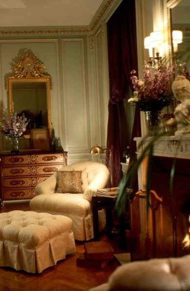 Corner of the mansion master bedroom showing eight tufted upholstered reading chair from the Baker Furniture the McMillen collection. Interior design by Steven C. Adamko