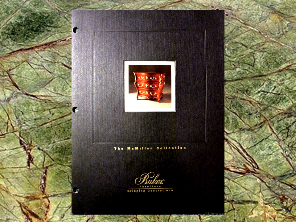 Photo of the Baker furniture catalog titled the McMillen collection