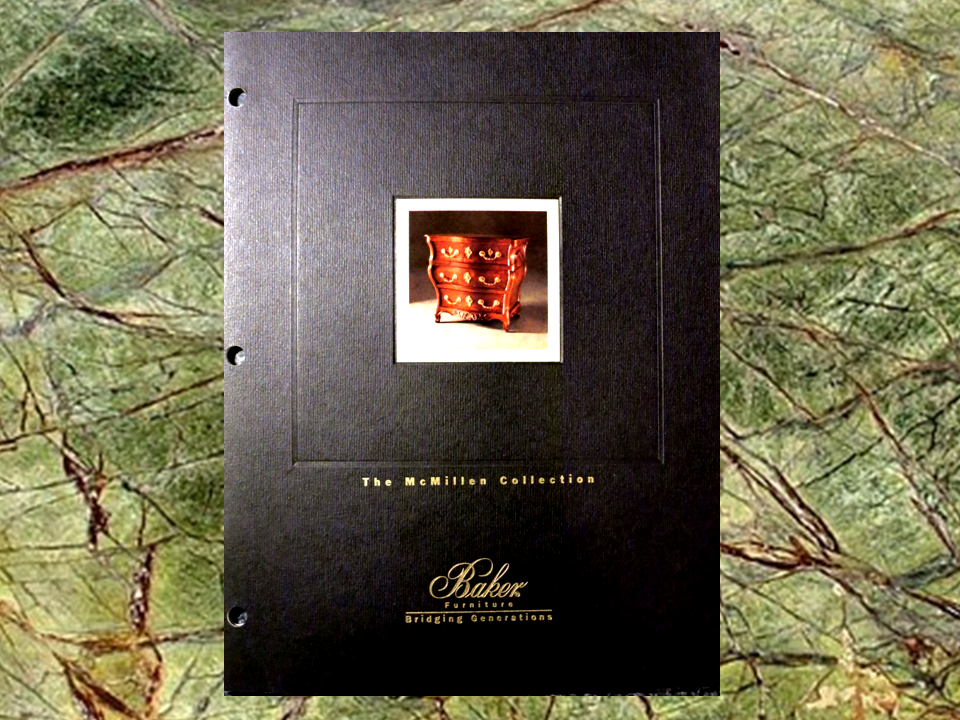 Photo of the front cover all of the Baker Furniture catalog, titled the Mc Millen Collection in which is on page 15, the work of the interior designer Steven C. Adamko, the owner and founder of Spectrum Interiors established in 1982 in Kalamazoo Michigan
