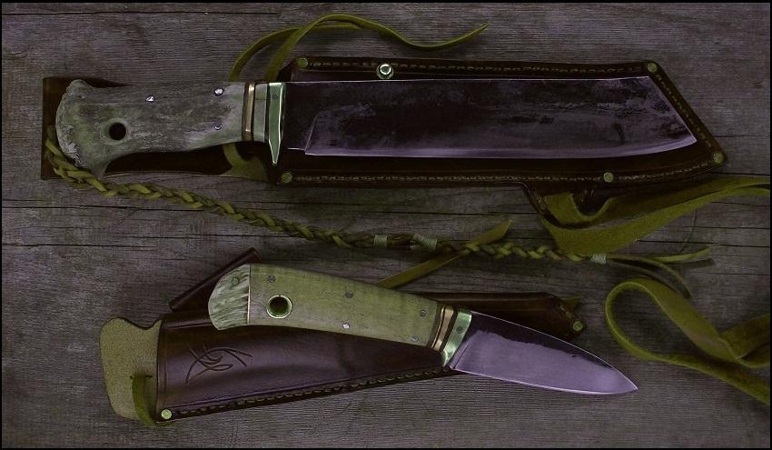 handmade camp knife and a handmade hubting knife