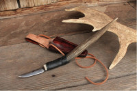 Custom antler handled hook knife