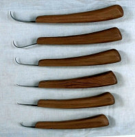 Handmade Woodcarving knife set of 6, six different hook shapes
