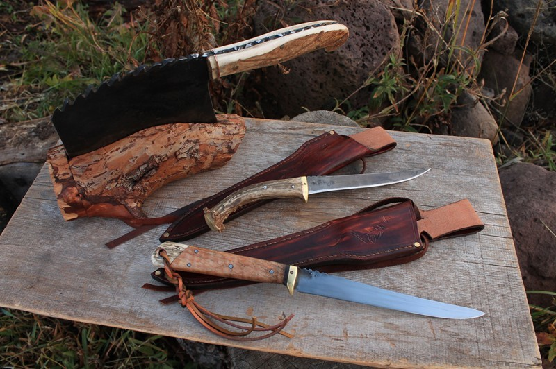 cleaver and two fillet knives