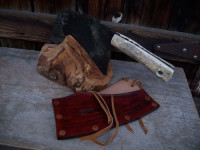 cleaver with a block and a sheath