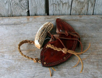ulu with a moose antler handle sheathed