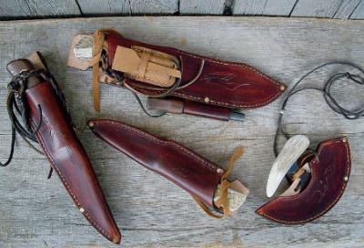 Knife set of 4 sheathed, Aki Yamamoto's leather work