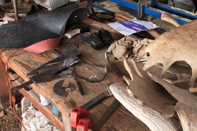on our workbench making woodcarving knives and tools