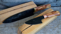 Two chef knives with blocks
