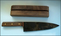 Handmade chef knife and block