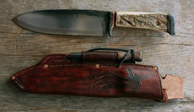 Hand forged bushcraft knife