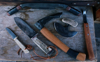 Wilderness survival, bush craft set of 6 handforged tool and knives