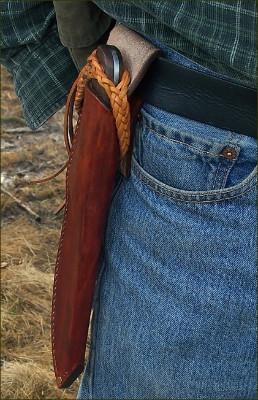 handmade sheathed hunting knife