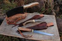cleaver and 2 fillet knives