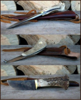 Hunting camp with horses knives set