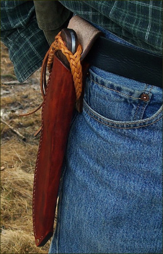 another style of handmade sheath. Kootenai hunting knife