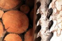 bandsaw teeth against firewood