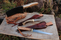 2 custom handmade fillet knives and a handforged cleaver