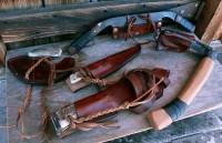 6 handmade survival tools, sheathed