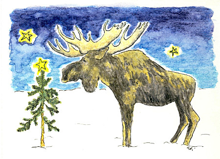 water colour drawing of moose by Aki Yamamoto