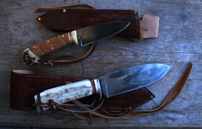 Survival knife and a hunting knife