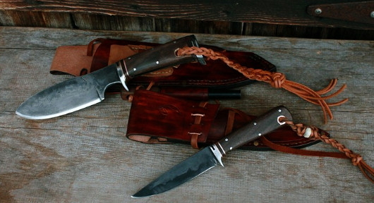 Hand forged hunting knives, Mountain Caribou and Kootenay