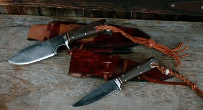 2 handmade hunting knives