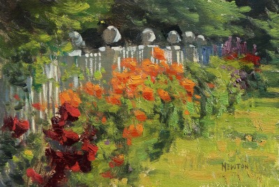 6 x 9      Fence of Flowers     Oil