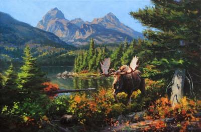 24 x 36      Taggart Lake Moose     Oil